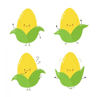 Cute happy corn character set collection. isolated on white . vector cartoon character illustration design, simple flat style. corn walk,train,think,meditate concept