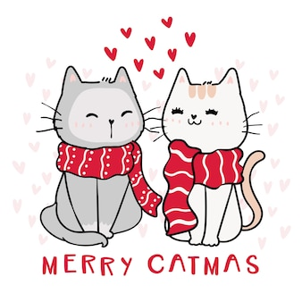 Cute happy couple cat in red chrsitmas winter scarf, merry catmas with heart