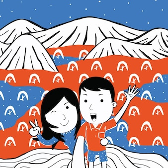 Cute happy couple on top of mountain in cartoon style