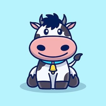 かわいい幸せな牛の漫画イラスト