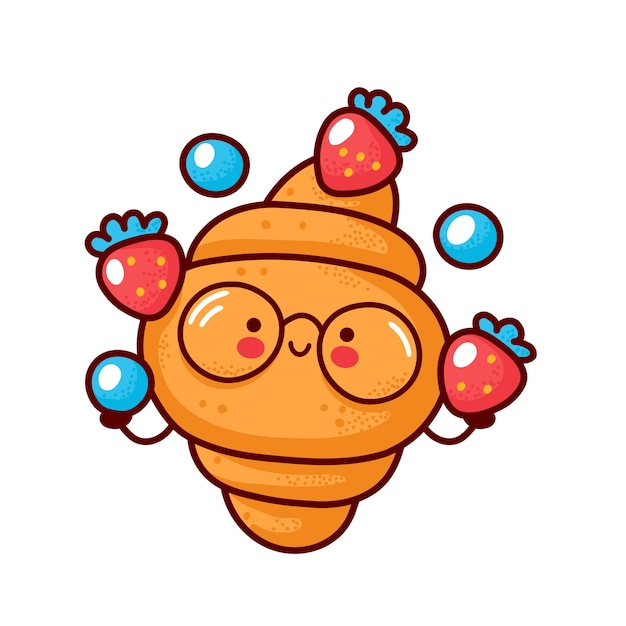 Симпатичный счастливый круассан жонглирует клубникой и черникой