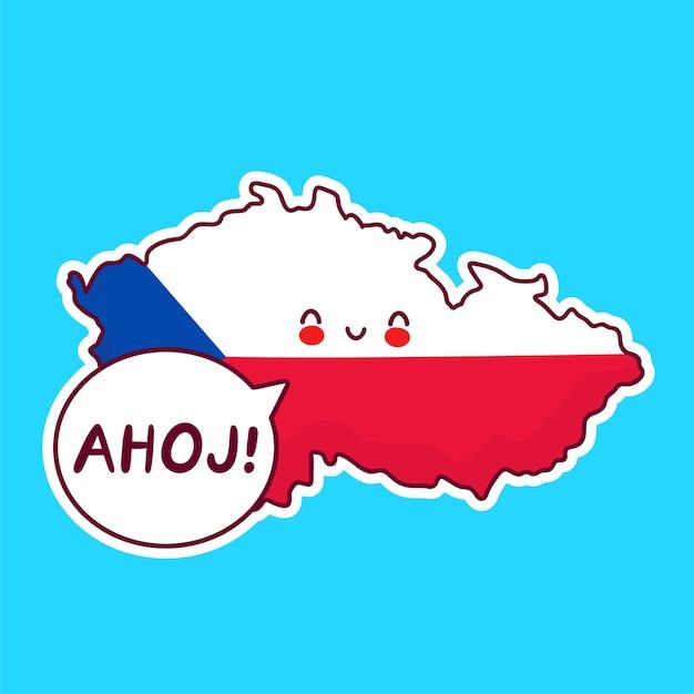 Симпатичная счастливая карта чехии и персонаж флага