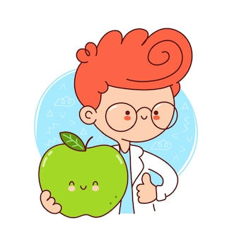 Cute happy doctor hold green apple.