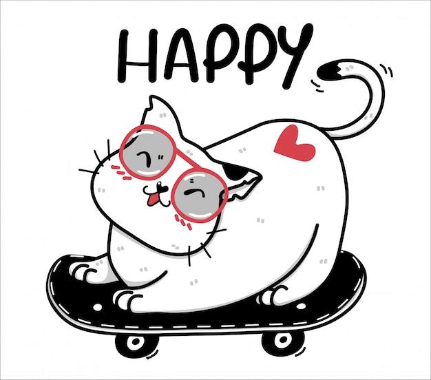Симпатичный счастливый каракули толстый белый кот на скейтборде, идея счастливого времени для сублимационного дизайна, поздравительная открытка для печати