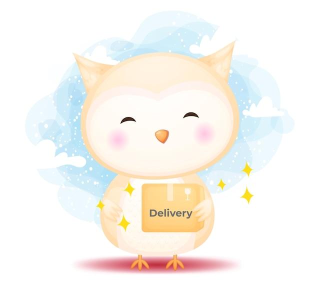 Милая счастливая сова каракули получает коробки. мультфильм концепции доставки