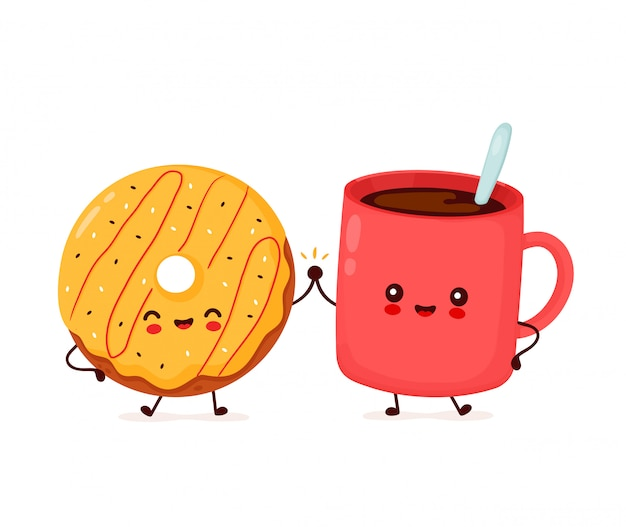 かわいい幸せなドーナツとコーヒーのマグカップのキャラクター。白い背景で隔離されました。