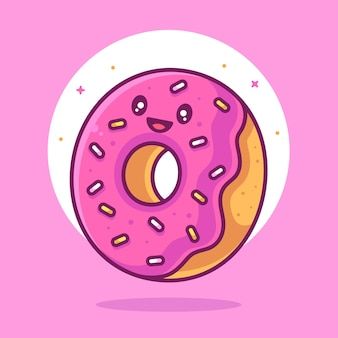 Cute and happy doughnut illustration food or dessert logo vector icon illustration in flat style