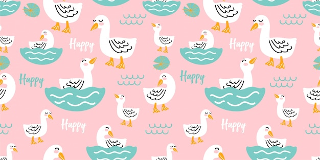 Cute happy duck gift card design seamless pattern template