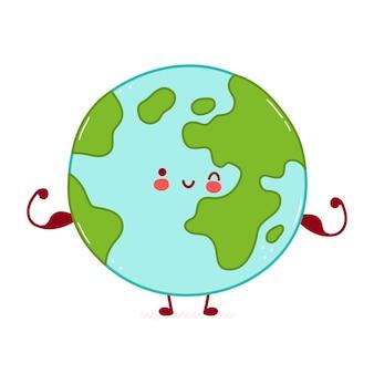 かわいい幸せな地球惑星のキャラクターは筋肉を示しています