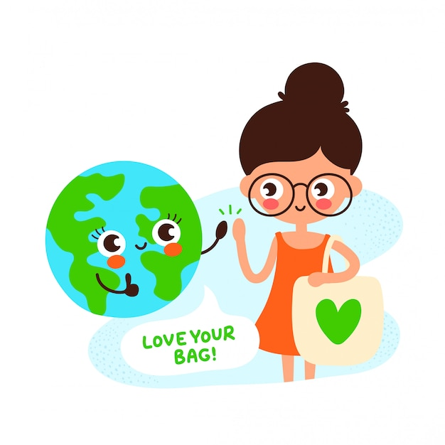 Cute happy earth planet and young girl with eco bag with green heart