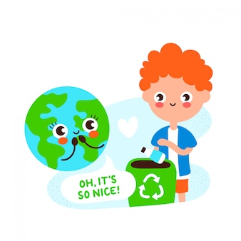 Cute happy earth planet and young man recycling