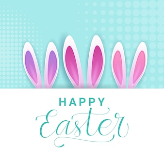 Cute happy easter greeting card with creative lettering calligraphy and rabbit ears