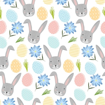 Cute happy easter seamless pattern with cartoon gray rabbits, colorful eggs and flowers
