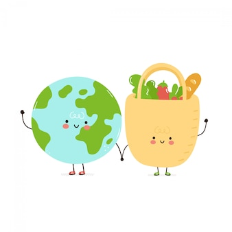 Cute happy eco bag and planet earth.