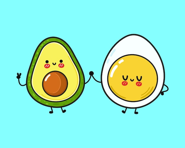 かわいい幸せな卵とアボカドの友達のコンセプト