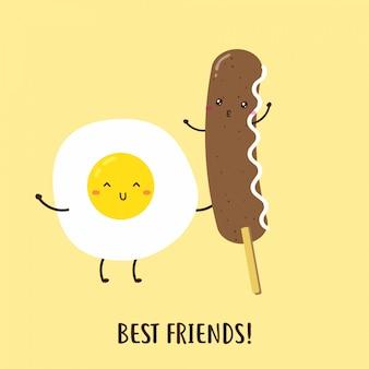 かわいい幸せな卵とおいしいソーセージの朝食ベクターデザイン