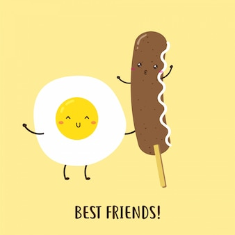 Cute happy egg and delicious sausage breakfast vector design