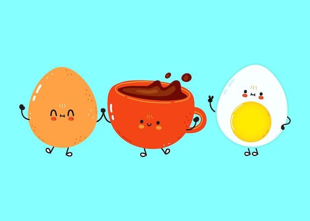 かわいい幸せな卵とコーヒーカップ