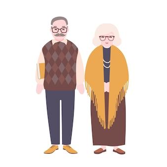 귀여운 행복 한 노인 커플 흰색 배경에 고립입니다. 웃는 노인과 안경을 쓴 여자. 할아버지와 할머니가 함께 서 있습니다. 평면 만화 스타일의 다채로운 벡터 일러스트 레이 션.