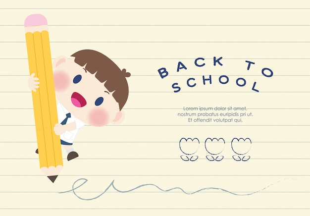 Cute happy  elementary student back to school vector