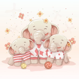 Cute happy elephant family celebrate christmas and new year together