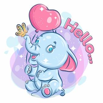 かわいい幸せな象ホールドバルーンと蝶と遊ぶ。カラフルな漫画イラスト。