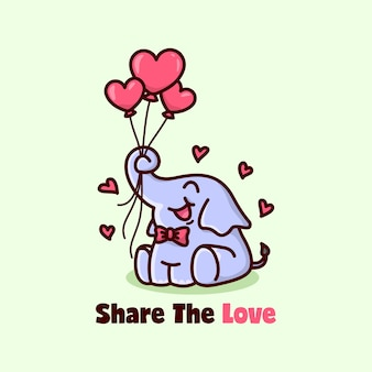 Cute happy elephant holding heart shape balloons