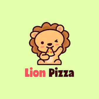 Cute happy face lion eat pizza mascot logo