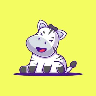 かわいい幸せそうな顔のゼブラ漫画イラスト。動物フラット漫画スタイルの概念