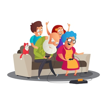 Cute happy family portrait with happy grandparents and grandchildren playing video game console on sofa together.