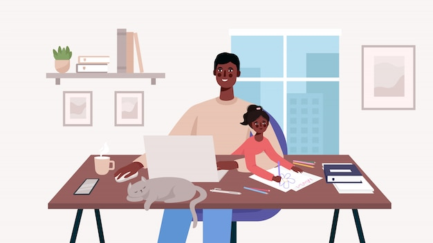 Cute happy father sits with a baby and works at a laptop. home office. man freelancer, remote work and raising a child at workplace. family together with cat on table flat cartoon  illustration.