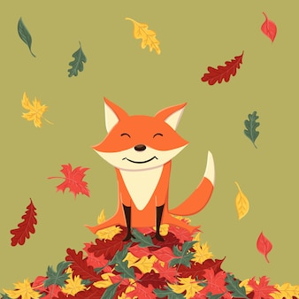 Cute and happy fox in the autumn leaves