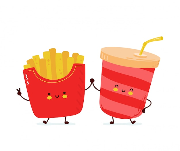 Cute happy french fries and soda water. isolated on white background.  cartoon character hand drawn style illustration