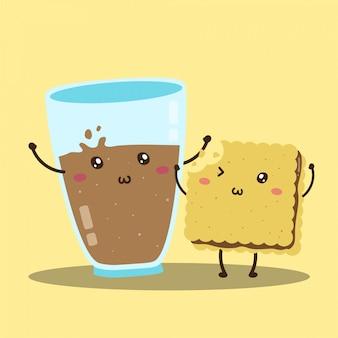 Cute happy fresh chocolate milk and cookies vector design