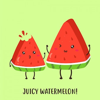 Cute happy fresh juicy watermelon vector design
