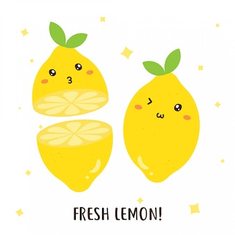 Cute happy fresh lemons vector design
