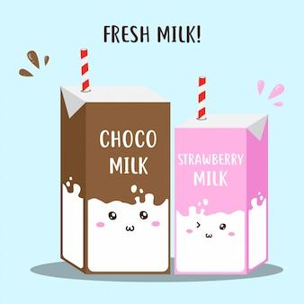 ボックスパッケージベクターデザインでかわいい幸せな新鮮な牛乳