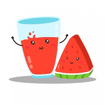 Cute happy fresh watermelon juice vector design
