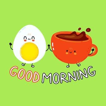 Симпатичные счастливые жареные яйца и кофейная чашка