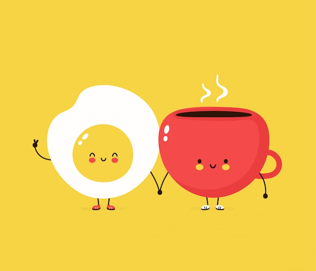 Cute happy fried egg and coffee cuo. cartoon character illustration design,simple flat style. fried egg and cup character concept