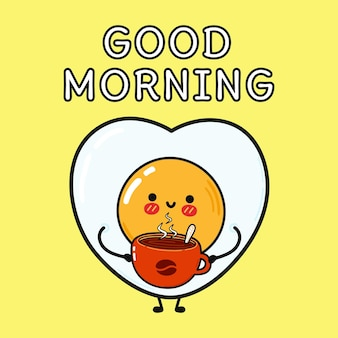 Cute happy fried egg hold coffee cup good morning card