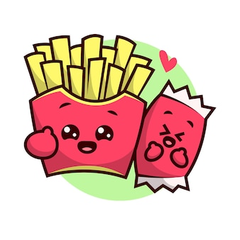 Дизайн мультфильного маскота с милым счастливым фри и чили кетчуп