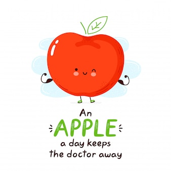 Cute happy funny apple. cartoon character hand drawing style illustration. isolated on white background. an apple a day keeps the doctor away card