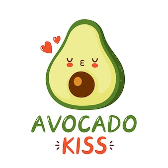 Cute happy funny avocado character