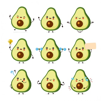Cute happy funny avocado set collection.  cartoon character illustration icon design.isolated on white background