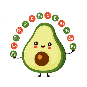 Cute happy funny avocado. vitamins concept.   cartoon character illustration icon design.isolated