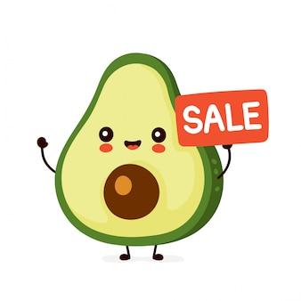 Милый счастливый смешной авокадо с продажи знаком. дизайн значка иллюстрации персонажа из мультфильма. изолированный