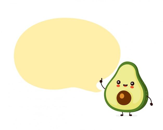 Милый счастливый смешной авокадо с пузырем речи. дизайн значка иллюстрации персонажа из мультфильма. изолированный