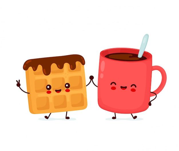 Милая счастливая смешная бельгийская вафля и кофейная чашка. дизайн значка иллюстрации персонажа из мультфильма. изолированный