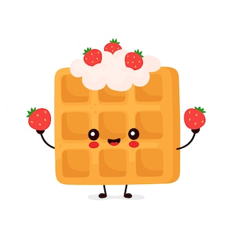 Cute happy funny belgian waffle with strawberry.